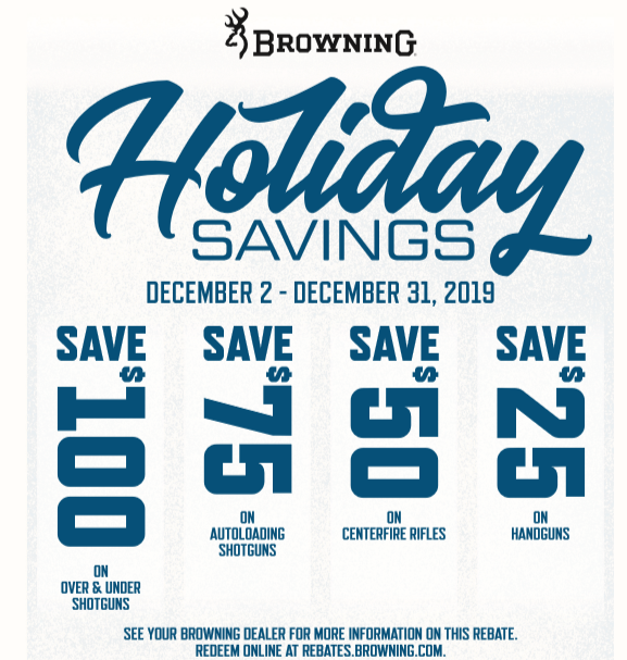 Get up to $100 back from Browning with Purchase of new firearm!